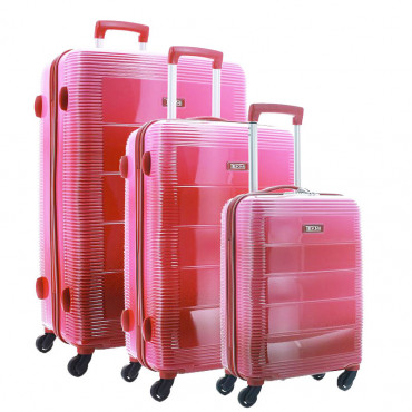 TEKMi Lot de 3 Valises Rigides pas cher en Polycarbonate - Rose