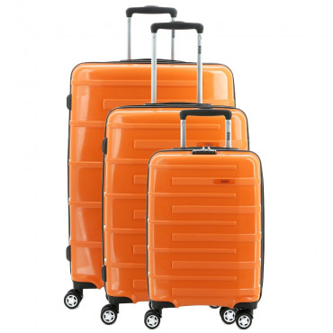 TEKMi Lot de 3 Valises Rigides pas cher en Polypropylène - Orange