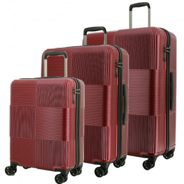 TEKMi Lot de 3 Valises Rigides pas cher en Polycarbonate - Bordeaux
